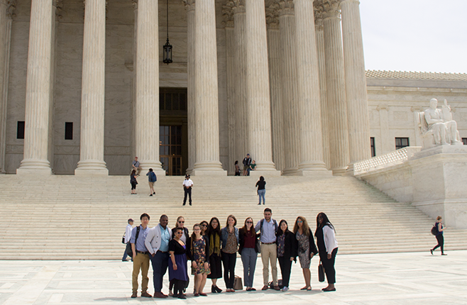 MSSP students in front of the Supreme Court in Washington, DC