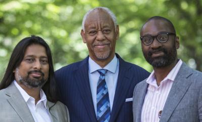 Toorjo Ghose, Calvin Bland, and Dean John L. Jackson, Jr., on Locust Walk.