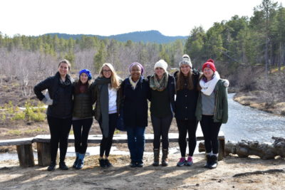 Associate Dean of Academic Affairs Jerri Bourjolly along with students who traveled to Finland