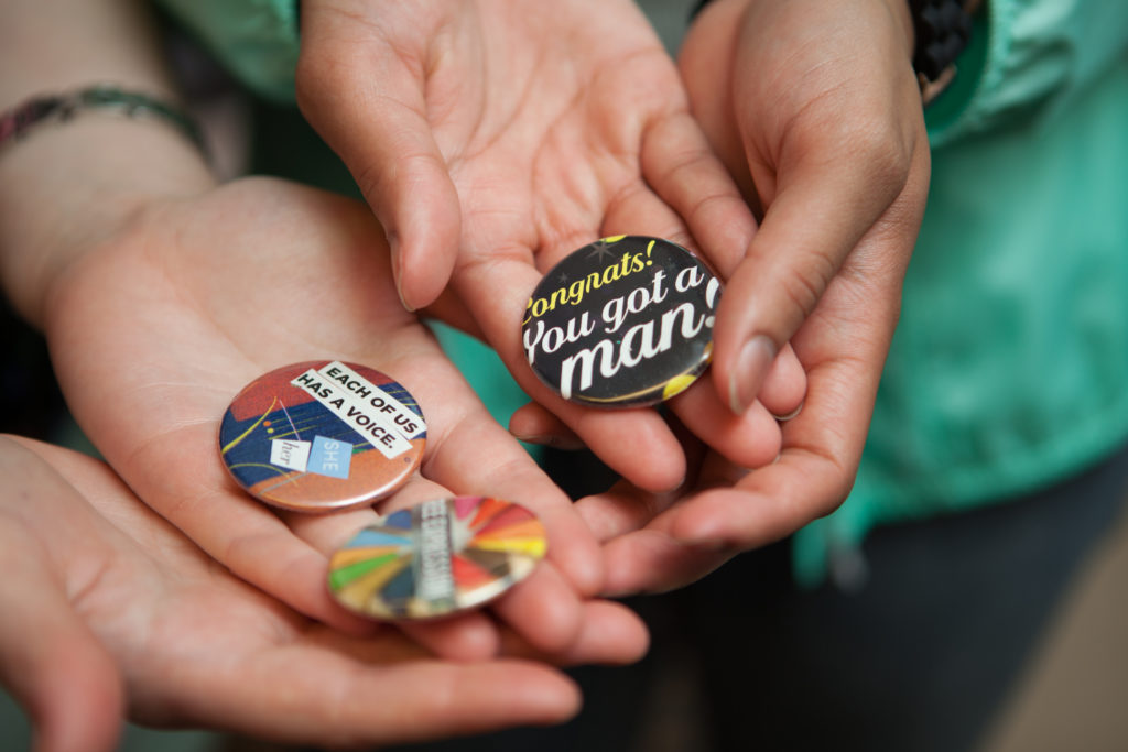 Buttons designed to help change the narrative around gender.
