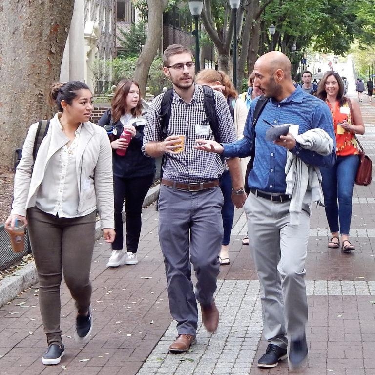 DSW students walking down Locust Walk
