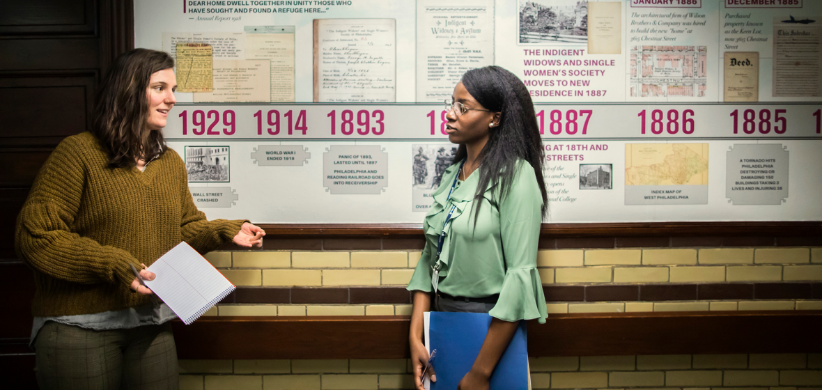 Christine Pappas, left, and Shauniqua Key are two of six graduate students from the School of Social Policy & Practice interning at the Penn Memory Center and Penn Geriatric Medicine