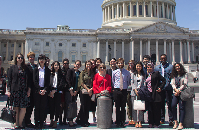 MSSP students pose in front of the U.S. Capitol Building