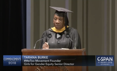 Screenshot of Tarana Burke's Commencement speech on CSPAN