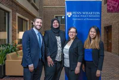 Pictured at the competition from left to right: Sam Margolius, Nadia Malik, Jenessa Irvine, and Blanca Castro