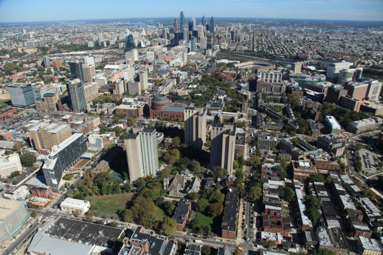 University of Pennsylvania campus with the Philadelphia skyline