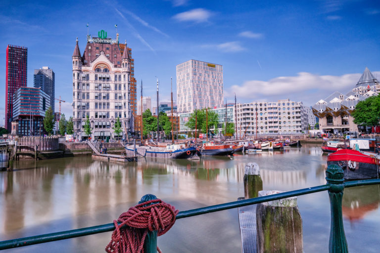 Looking over a canal to a city skyline in the Netherlands
