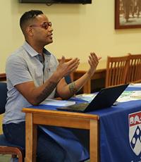 Ezekiel Dixon-Román speaks at book talk