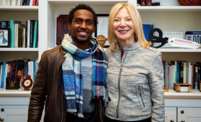 Adamseged Abebe and Penn President Amy Gutmann
