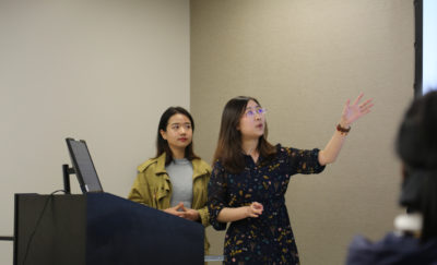 SP2 Student Presenters Xiaorui (Mia) Hou and Xiaoxuan He at the Data for Equitable Justice Lab Symposium