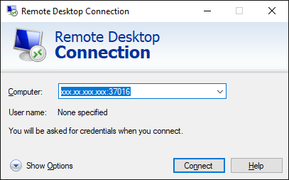 Remote Desktop Connection screenshot