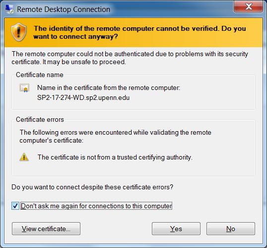 Screenshot of warning message