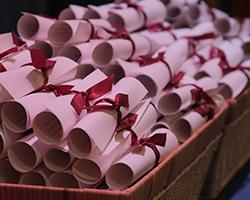 Paper scrolls in basket