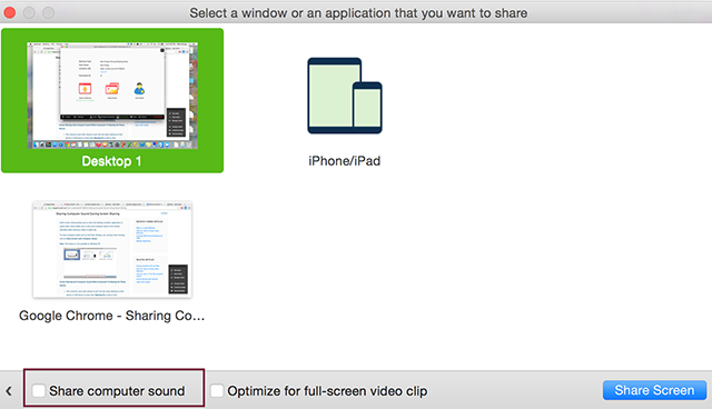 sound share screen