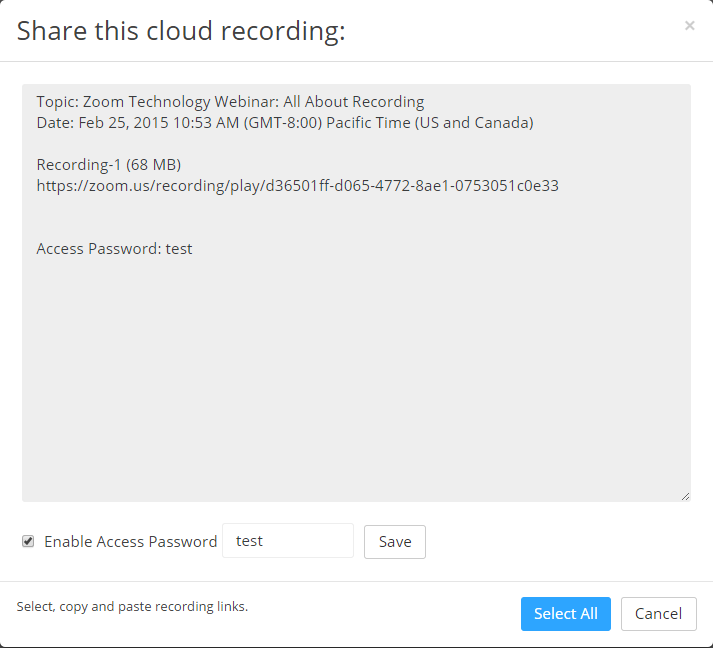Zoom share recording screen