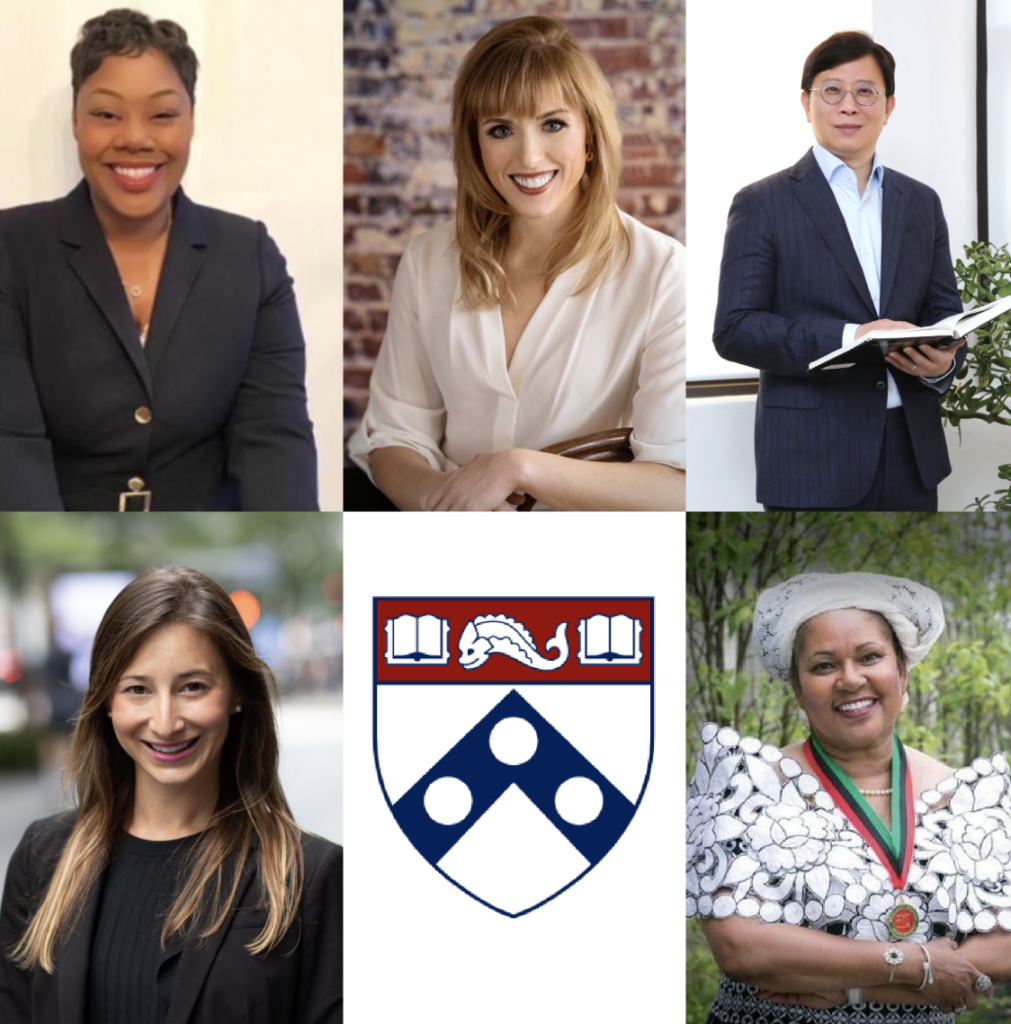 SP2 2020 Alumni Hall of Fame inductees. Clockwis from left: Cherése N. Godwin, PhD (MSW '09), Elizabeth Abel (NPL '13), Rachel Dungan (MSSP '13), Chulhee Kang (PhD '94), Elizabeth Abel (NPL '13), and Patricia Reid-Merritt (DSW '84).