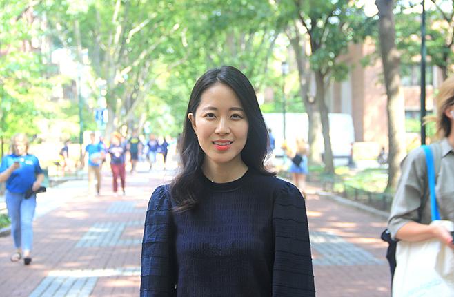 Hyeri Choi stands on Locust Walk