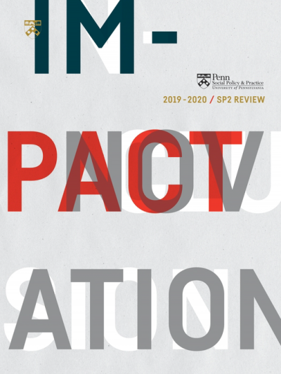 2019-2020 SP2 Review cover; gray background with words impact, innovation, inclusion