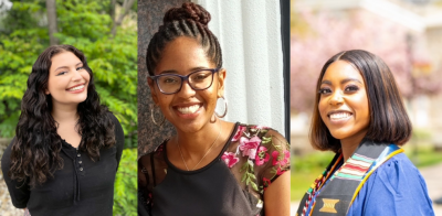 Inaugural cohort of SP2 Social Justice Scholars: Paloma Brand, Skye Horbrook, and Gianni Morsell