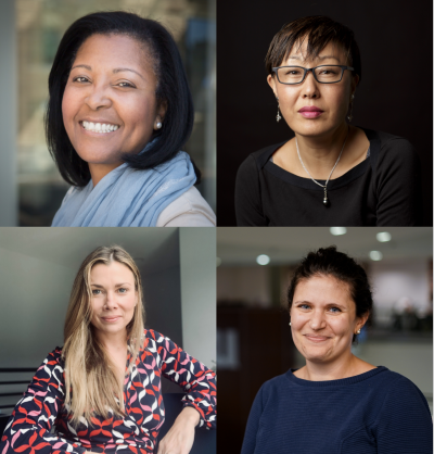 New SP2 faculty, clockwise from left: Tamara Cadet, PhD; Yoosun Park, PhD; Meredith Doherty, PhD; and Milan AbiNader, PhD